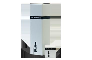 Flaschenverpackung aus kaschierter Wellpappe. Besonders stabil, hoher Schutz für das verpackte Gut.