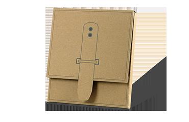 Wellpappschachtel aus brauner Wellpappe für den Versand von Informationsmaterial.