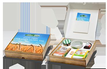 Mailingbox zur Vorstellung neuer Lebensmittelprodukte. Wird auch als Pressekit oder Promotionbox bezeichnet und dient dem Versand von Warenproben und Info-Material an Einkäufer und Journalisten.