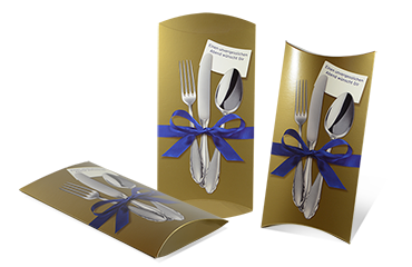 Kissenverpackung mit Golddruck